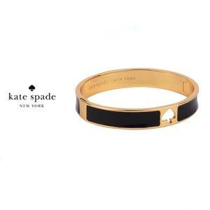 Kate Spade Black Enamel and Gold Hinge Bangle